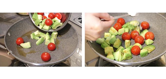 ミニトマトとアボカドを炒める