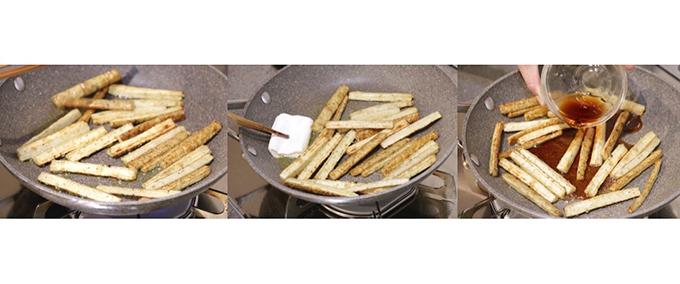 (1)のごぼうをフライパンで炒めて味付けしている