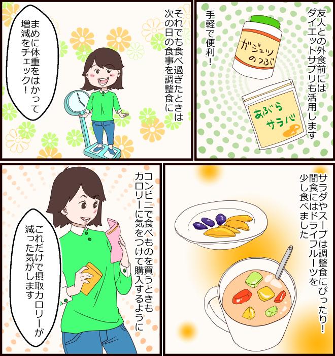 友人との外食前にはダイエットサプリも活用します。手軽で便利! それでも食べ過ぎたときは次の日の食事を調整食に。「まめに体重をはかって増減をチェック!」サラダやスープは調整食にぴったり! 間食にはドライフルーツを少し食べました。コンビニで食べものを買うときもカロリーに気をつけて購入するように。「これだけで摂取カロリーが減った気がします」