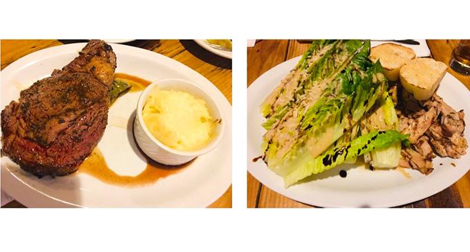 ステーキとサラダの画像