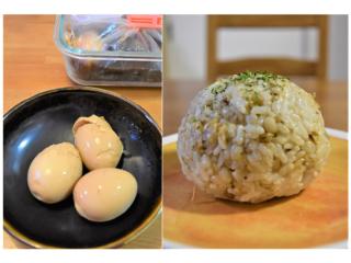 煮卵とおにぎりの画像