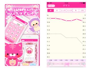 記録ラクラク♪ ゴージャスなピンクで気分が上がる「『やせログ』かわいい&ゴージャスなダイエット記録アプリ」