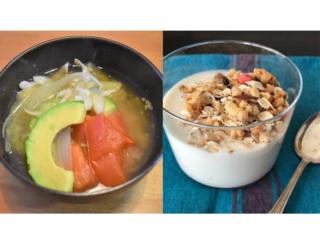 味噌汁とヨーグルトの画像
