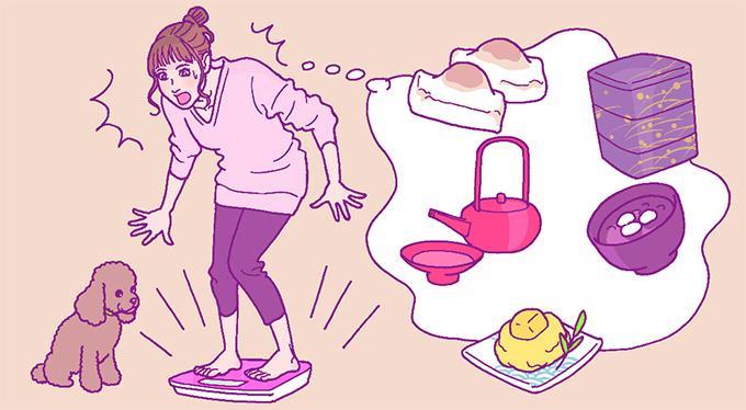 体重計にのる女性のイラスト