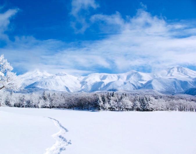 雪一面の北海道の景色