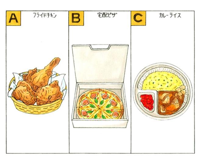 フライドチキン、宅配ピザ、カレーライスのイラスト