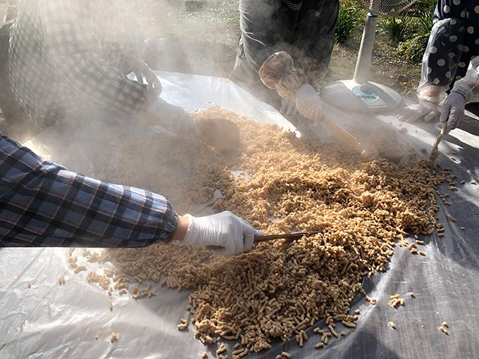 ペーストした大豆をじゃもじで広げている場面