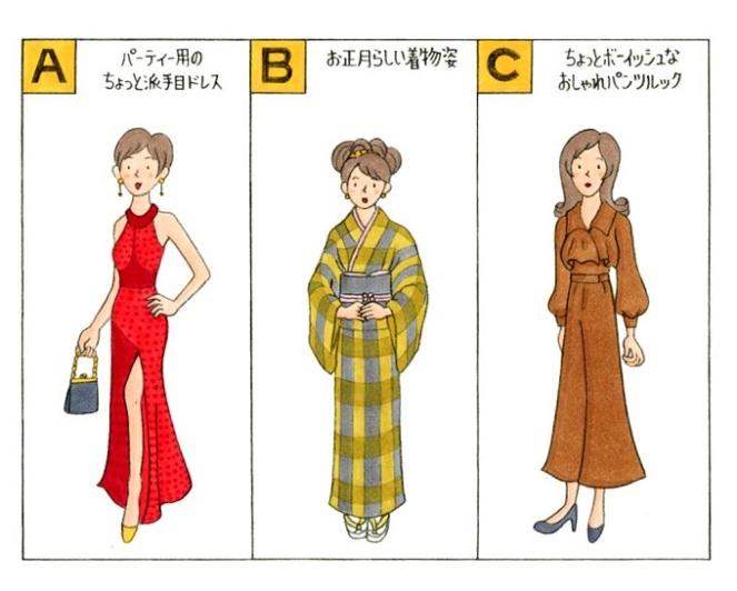 服を着た女性のイラスト