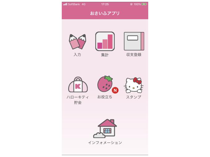 各項目の選択画面を表示した画像