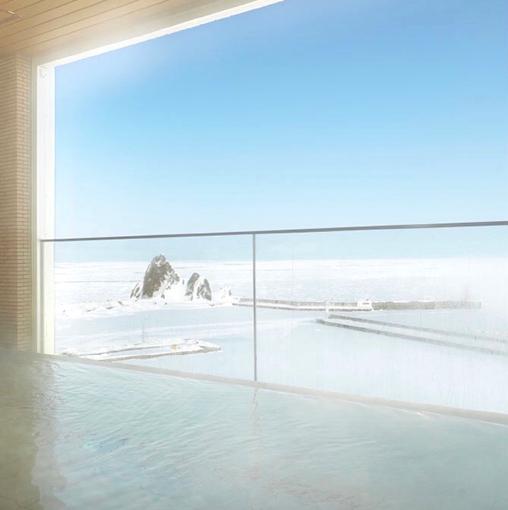 大浴場の露天風呂から見た外の景色