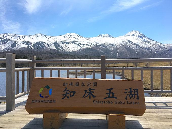 知床五湖と書かれた木のボード