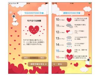 """モテるてるが""""モテ度""""を予報!? 恋の空模様がわかるアプリ「今日のモテんき予報」"""