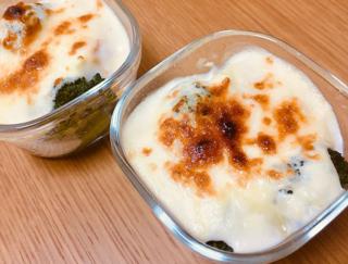 小麦粉も牛乳も使わない♪ ヘルシー&高たんぱく「ゆで卵とブロッコリーの豆腐グラタン」