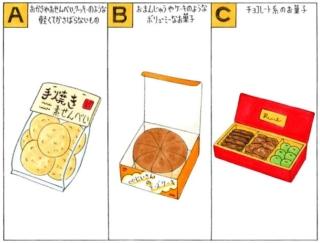 【心理テスト】旅先で職場の人にあげるお菓子を買います。あなたが選ぶのは?
