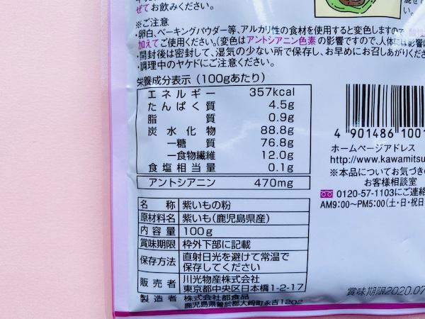 パッケージに記載された栄養成分表示