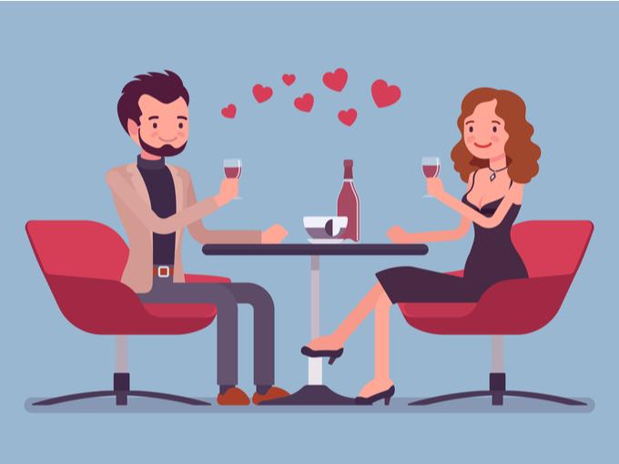 一緒に飲酒を楽しむカップルのイラスト