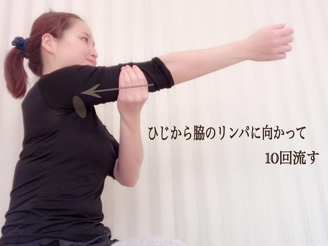 二の腕をマッサージしている画像