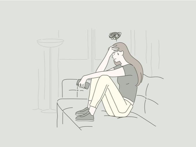 孤独を感じる女性のイラスト