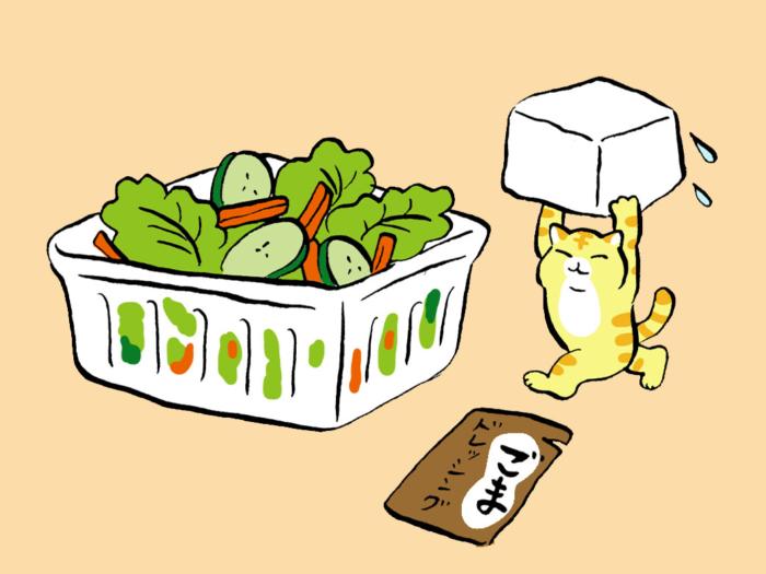 「グリーンサラダ+豆腐」で肌悩みをケア! #コンビニちょい足し薬膳