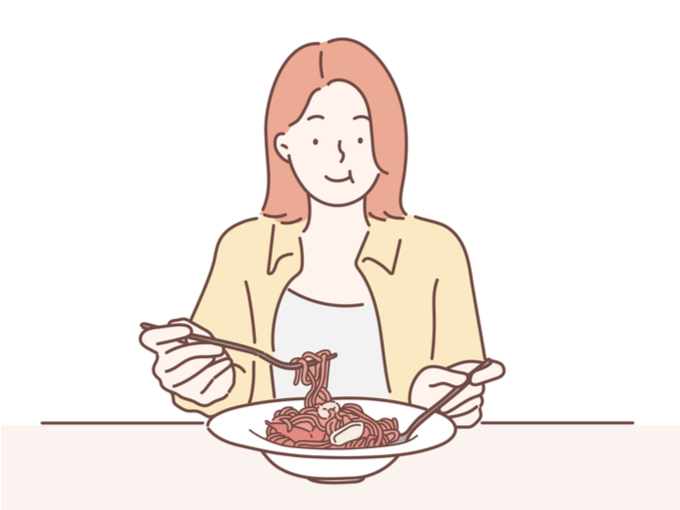 パスタを食べる女性のイラスト