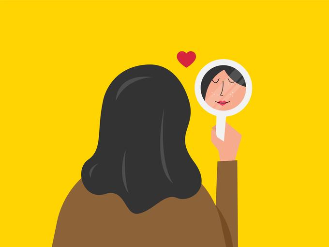 手鏡を見る女性のイラスト