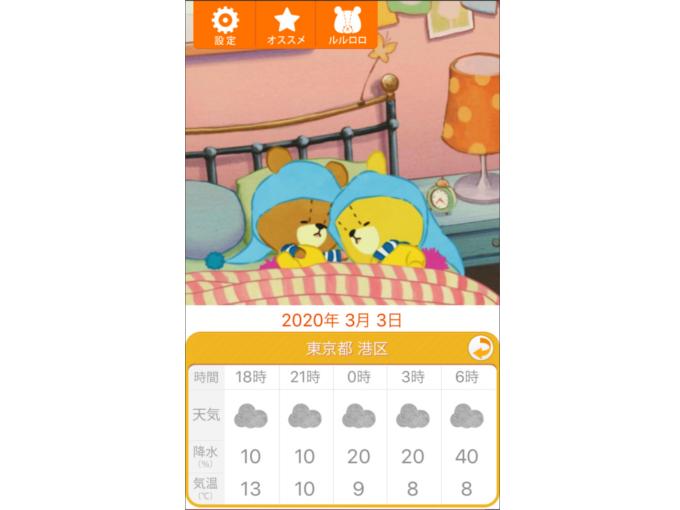 ルルとロロが寝ているアプリの画面