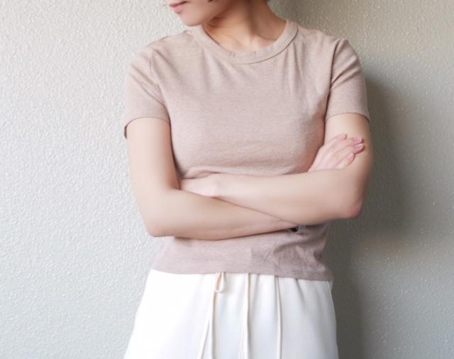 ZARA ベーシックTシャツ ベージュ着用画