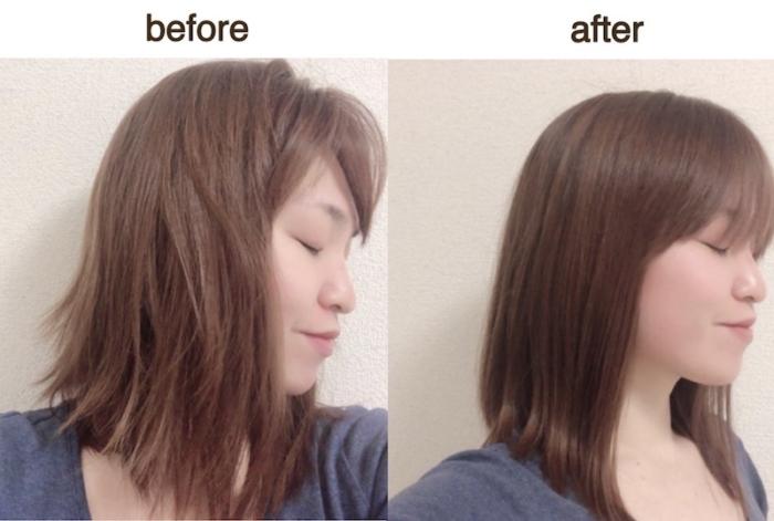 寒川さんのサラツヤヘアのビフォーアフター画像