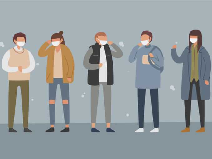 マスクをしている人たち