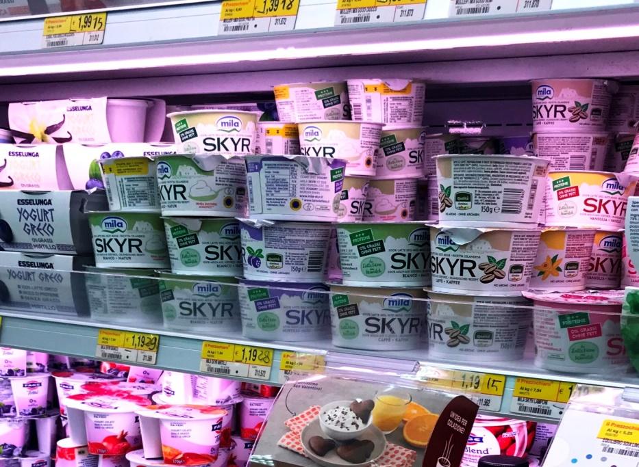 イタリアのスーパーの棚にならぶスキル