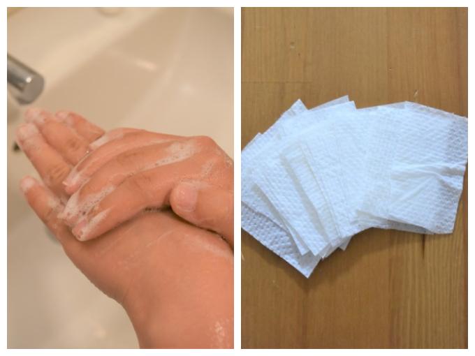 手を洗う画像と紙石けんの画像