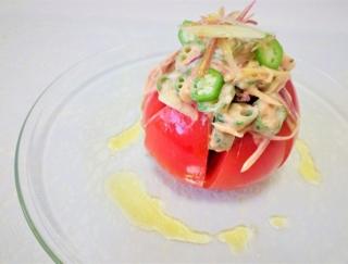 オクラとみょうがの食べるオーロラソース!「贅沢トマトサラダ」 #今日の作り置き