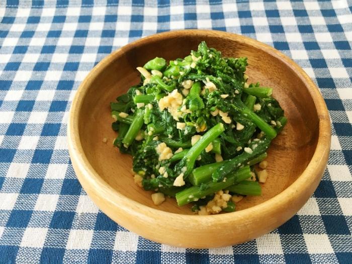 旬の食材でビタミン補給♪「菜の花のナッツみそ和え」 #今日の作り置き
