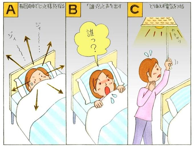 ベットで寝ている女性のイラスト