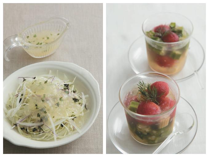 せん切りサラダ ジュレドレッシング(左)と野菜のテリーヌ(右)