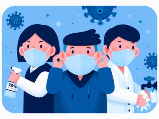 ウイルス対策でマスクをした人のイラスト