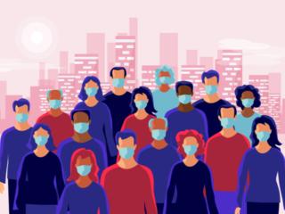 マスクをしている人たちのイラスト