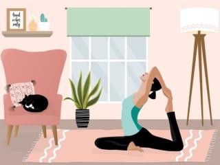 自宅で運動をしている女性