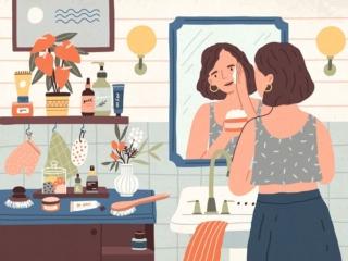 鏡の前でお肌のケアをしている女性のイラスト