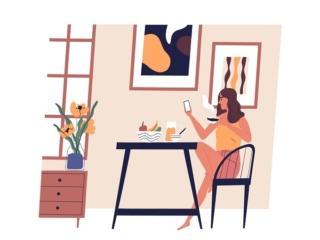 スマホを見ながら食事をしている女性のイラスト