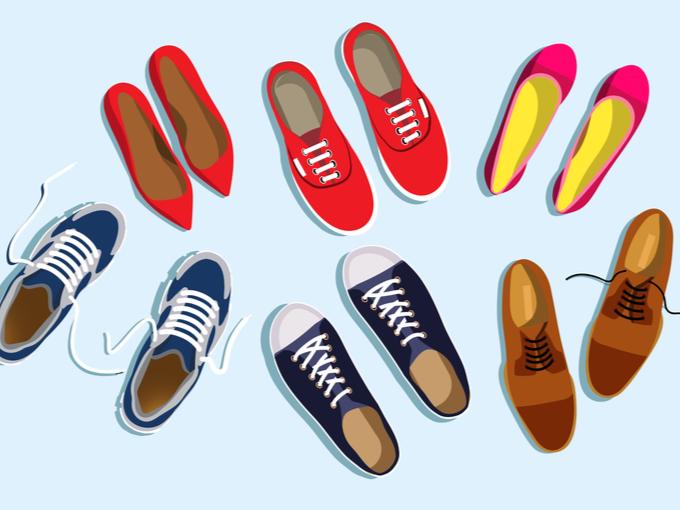 複数の靴のイラスト