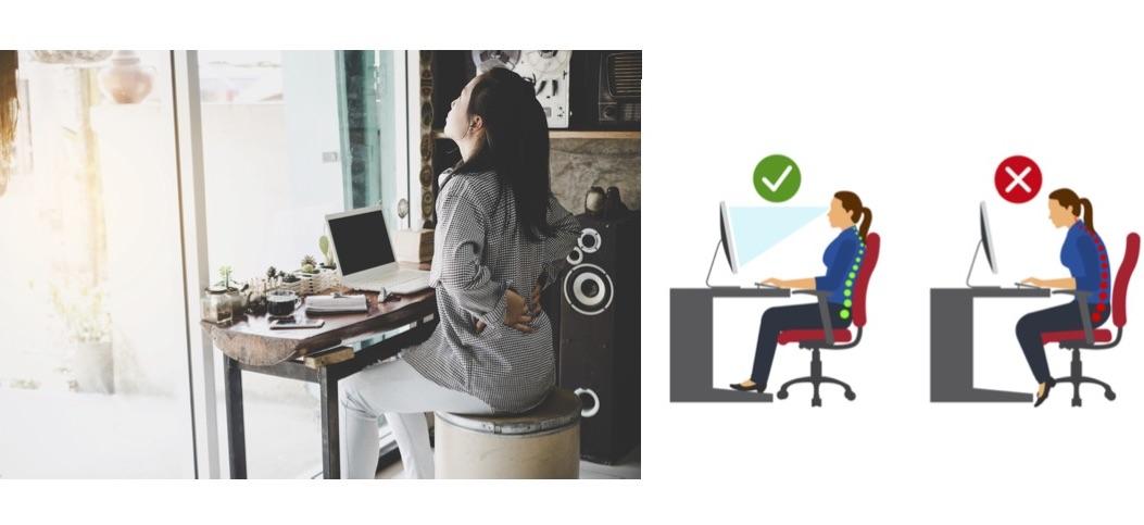 デスクワーク中に腰に手を当てている女性とデスクワーク中のNGとOK姿勢の比較画像