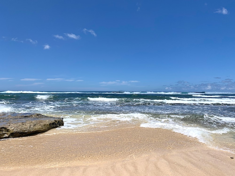 ハワイの海、正面から撮影した画像