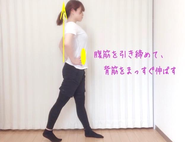 腹筋を引き締めて、背すじをまっすぐ伸ばす