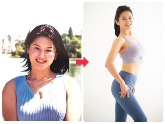 体重が62kgあった頃のNaokoさん(左)と、現在(右)