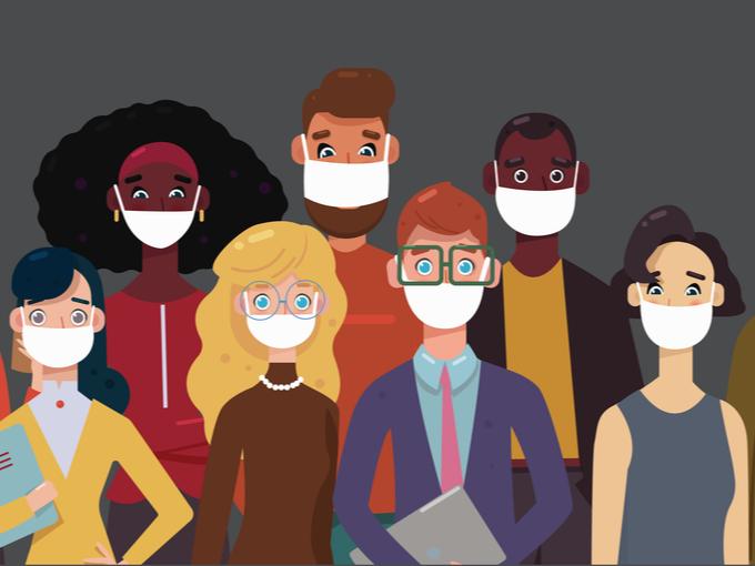 マスクをつけた人たちのイラスト
