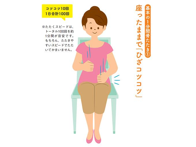 ひざをたたく女性のイラスト