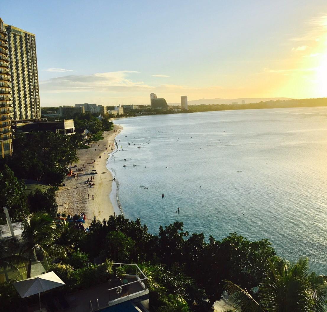 ホテルから眺めたハワイの海