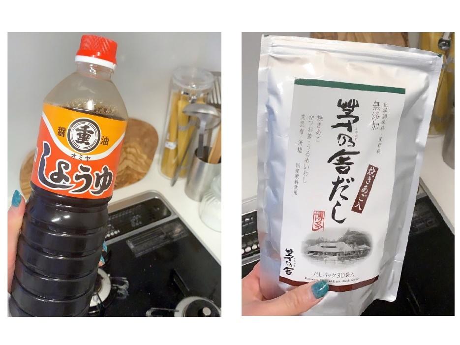 「オミヤの醤油」(左)と「茅乃舎だし」(右)。