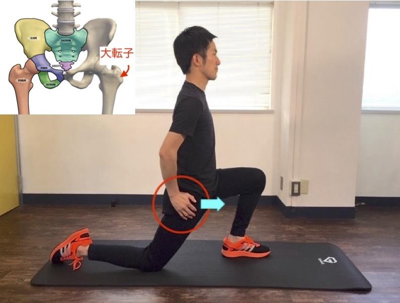 右股関節のつけ根を前方へ伸ばす